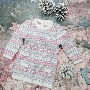 Cat & Jack Sparkly Snowflake Sweater Dress 6-9 M
